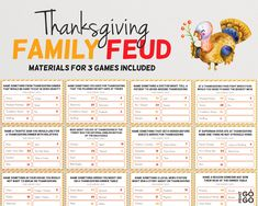 Thanksgiving Family Feud Quiz | Thanksgiving Family Friendly Game Night | TV Gameshow | Holiday Quiz Night | Thanksgiving Fun Group Game