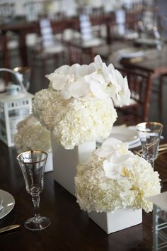 Tropical floral centerpieces, Hawaii wedding reception, white orchids, white square vases // Rachel Robertson Photography