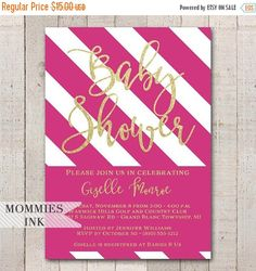 303 best baby shower invitations images on pinterest in 2018 baby pink and white stripe baby shower invitation girl baby shower invitation pink white stripes pink and gold invitation modern invitation filmwisefo