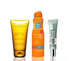 Supercharged Sunscreens - What are we slathering on this summer? This collection of skin protecting products. Not only do they block damaging rays, their added benefits hydrate and improve skin. Get ready for summer by throwing one of these nine supercharged must-haves in your beach bag.