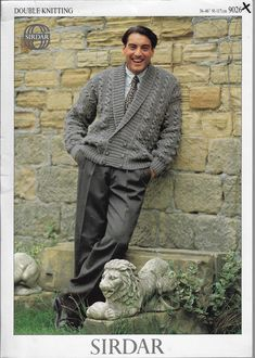 Men's Cable Double Breasted Jacket Sirdar 9026 knitting pattern DK yarn  #Sirdar