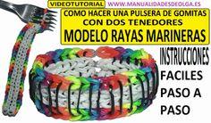 COMO HACER PULSERA DE GOMITAS RAYAS MARINERAS (SAILORS PINSTRIPE) CON 2 ...
