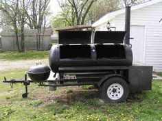 This is the building process that friends and I used to build a 250 gallon reverse flow smoker and put it on a trailer. My friends, Charlie . Build A Smoker, Diy Smoker, Bbq Pit Smoker, Homemade Smoker, Bbq Grill, Pit Bbq, Custom Bbq Smokers, Custom Bbq Pits, Barrel Stove