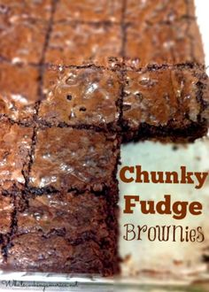 Chunky Fudge Brownies Recipe  |  whatscookingamerica.net  | #fudge #brownie #chocolate