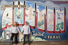"Take a photo in front of the ""Greetings from Austin"" mural. This backdrop will also make a great save the date card photo."