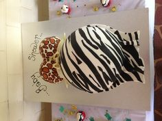 Safari theme baby shower  belly cake designed and made by Me