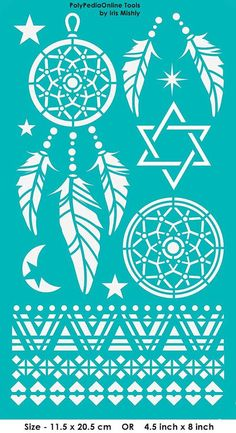"Stencil Stencils Templates ""Dream Catcher, Star of David"", self-adhesive…"
