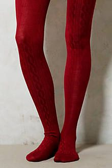 Cozy Cabled Tights in Red (Anthropologie)