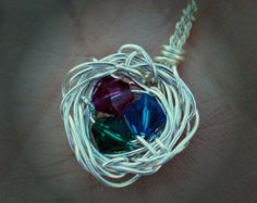 """Bird Nest Pendant with Birthstone """"Eggs"""". Family Nest! Great Mother's Day gift!  www.etsy.com/shop/dficreations"""