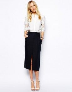 Buy ASOS Linen Split Front Pencil Skirt at ASOS. Get the latest trends with ASOS now. Vintage Style Dresses, Vintage Skirt, Trendy Dresses, Nice Dresses, Vintage Outfits, Style Désinvolte Chic, Look Boho Chic, Style Noir, 90s Style