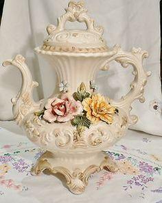 LARGE VINTAGE CAPODIMONTE TEA POT ORNATE PORCELAIN FLOWERS COLLECTABLE CHINA | eBay