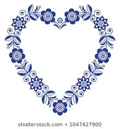 Folk heart vector design, Scandinavian floral ornament heart shape, traditional design with flowers in navy blue - birthday or wedding greeting card. Retro floral background inspired by Swedish and No Embroidery Patterns, Hand Embroidery, New Backgrounds, Pretty Backgrounds, Wedding Greetings, Scandinavian Folk Art, Blue Birthday, Vector Design, Design Design