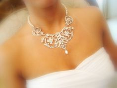 Bridal jewelry set, bridal necklace and earrings SET, bridal earrings, wedding jewelry with Swarovski crystals and pearls. $165.00, via Etsy.