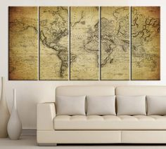Vintage WORLD MAP Canvas Print on Old World - Old World Map 5 Piece Canvas Art Print - For Home and Office Decoration Wall Art  - Art Print