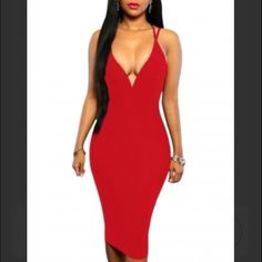 Double Strap Ariel Dress -Slip it on for date night and prepare to steal the show.   -Black or the red, Double Straps Cross Back V Neck Calf Length Dress designed to greatly show your elegance and rich assets in a direct way.   -Deep v neck, double straps and cross back, smooth zipper center back above hip  -Dress Length: Mid-Calf Dresses Midi