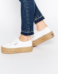 Zapatillas estilo alpargatas blancas con suela doble de plataforma plana 2790 de…