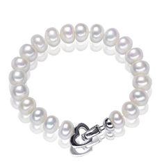 925silver white freshwater pearl bracelet