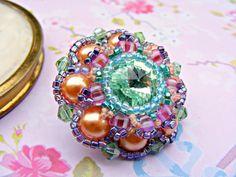Peach Aqua Swarovski Crystal Brooch, Crystal Pin, Orange Green Pearl Brooch, Beaded Brooch, Swarovski Crystal Jewelry, Swarovski Jewellery on Etsy, $49.74
