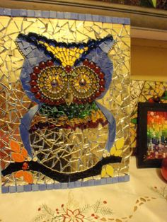 WIP mosaic mirror owl by Poppins Mosaics and Crafts, via Flickr