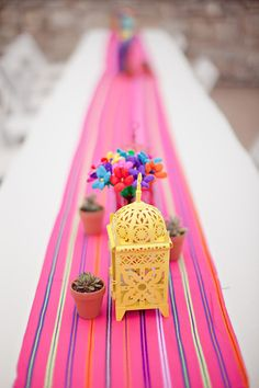 Colorful runner with lanterns and succulents. Event Coordination: Heather Darby and Andrea Gamse / Florist: Petals Ink Florist /