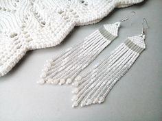 Wedding earrings, white native earrings, fringe earrings, beaded boho earrings brides earrings, fiancee large dangle earrings, white dusters by LindenHandCrafts on Etsy