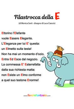 Filastrocca della E_ Monica Sorti_Luca Ciancio Italian Vocabulary, Italian Language, Learning Italian, Early Literacy, School Counseling, Nursery Rhymes, Preschool Activities, Kids And Parenting, Montessori