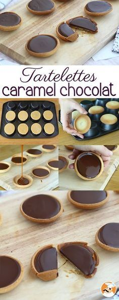 Caramel and chocolate tarts, Ptitchef recipe - tarte pie -You can find Tarts and more on our website.Caramel and chocolate tarts, Ptitchef recipe - tarte pie - No Cook Desserts, Mini Desserts, Chocolate Desserts, Delicious Desserts, Dessert Recipes, Yummy Food, Cake Recipes, Chocolate Tarts, Chocolate Coffee