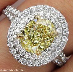 GIA 2.78ct Estate Vintage Fancy Yellow Canary by DiamondViolet