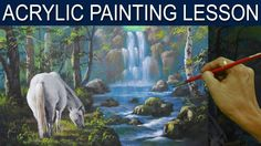 White Horse and the Waterfall Full Acrylic Painting Tutorial by JM Lisondra - YouTube