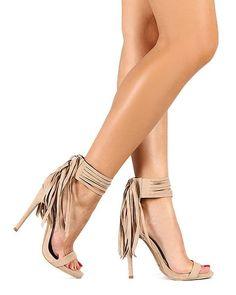 Fringe Ankle Strap Stiletto Sandal | Tanny's Couture LLC #Heels #shoeporn #Shoes #fringe #Fingeheels #shoegasm