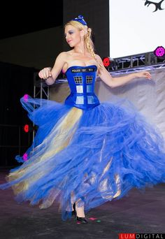 Geek Fashion Show at Stan Lee's Comikaze Expo 2013: Tardis corset by Castle Corsetry.  Photography by Lumdigital.