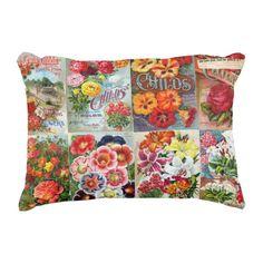 Vintage Flower Seed Packets Garden Collage by VintageArtBazaar. #vintage #FlowerSeeds #gardeners #pillows http://www.zazzle.com/vintageartbazaar*