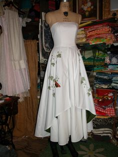 A strapless organic cotton wedding dress with ivy and butterfly appliques by Tara Lynn Bridal. Cotton Wedding Dresses, Tara Lynn, Strapless Dress Formal, Formal Dresses, Dress First, Bridal Collection, Appliques, Ivy, Organic Cotton