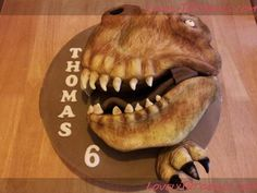 T-Rex head cake carved