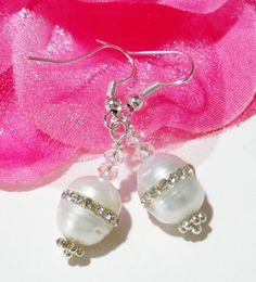 Pearl Bridal Jewelry  White Freshwater Pearl Earrings  AB