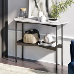 Nathan James Jasmine White Faux Marble Modern with Narrow Black Metal Frame Hallway Foyer Entryway Console Table 37201 - The Home Depot Traditional Console Tables, Small Console Tables, Marble Console Table, Entryway Console Table, Small Hallway Table, Ikea Entryway, Hallway Ideas, Black Metal Shelf, Metal Shelves