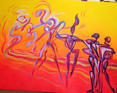 "Dance painting by Anthe ""Surrounded by love""  Acrylic on Canvas  30 x 40"" $3900.00"