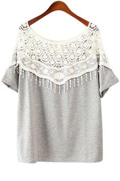 Slash Collar Lace Splicing Half Sleeve T-Shirt