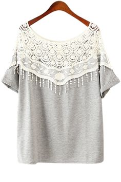 Slash Collar Lace Splicing Half Sleeve T-Shirt