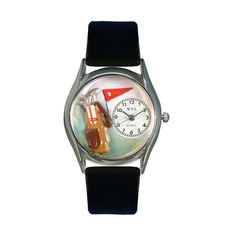 Whimsical Watches Golf Bag Black Leather And Silvertone Watch