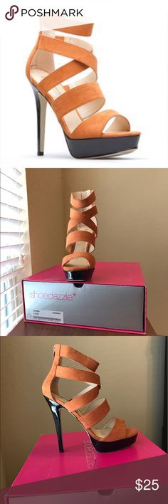 Shoe Dazzle: by Elizabeth Brady NYC - NWOT Spice up any outfit with these beauties!  Features include: Bold Cognac color, faux suede fabric, open toe, 5 beautiful straps including a cross strap and an ankle strap design, easy back zip opening.  (Brand spanking new, 2nd shoe has never been unwrapped). Pet free & smoke free home. Shoe Dazzle Shoes Heels