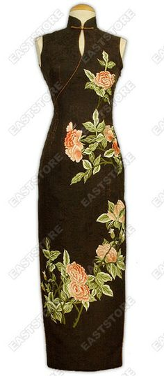 Mandarin collar.  Frog button.  Sleeves.  Invisible back zipper.  2 side slits.  Fully lined.  Peony embroidered.  Ankle length.