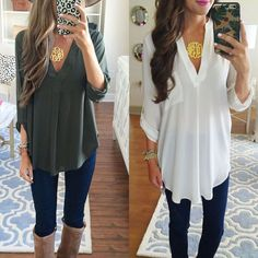 Women'S Lady Loose Long Sleeve Casual Blouse Shirt Tops  Fashion Blouse