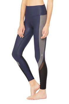 <p>Taking a cue from the popular High-Waist Airbrush Legging, the Elevate Legging features a high waistband to smooth and conceal (and complement on-trend crop tops). Sporty contour panels in mesh and glossy figure flatter and add ventilation.</p>