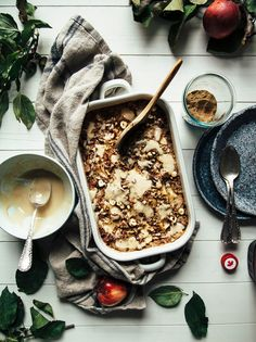 "COZY APPLE SPICE BAKED OATMEAL WITH MAPLE CREAM & HAWAIJ FROM ""MOLLY ON THE RANGE"" » The First Mess // Plant-Based Recipes + Photography by Laura Wright"