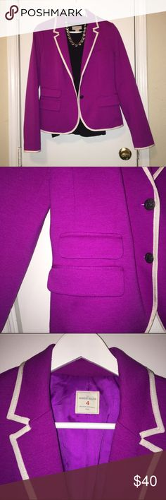 Bold Purple Blazer! Beautiful purple blazer with white trim detailing and brassy buttons. Great for work or casual wear! Feel free to make me an offer! GAP Jackets & Coats Blazers
