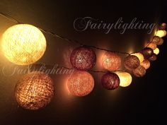 Cotton Ball Lights -20,35 Natural Tone Fairy String Lights Wedding Patio Hanging Party Floral Home Decor,Bedroom lights.