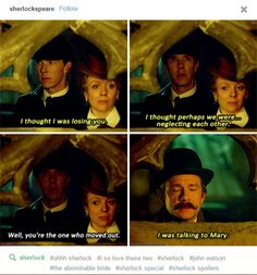 Sherlock: The Abominable Bride *Undeniable proof that Moffat & Gatis were in Tumblr to write this whole episode. Like seriously! Fatcroft with a thing for cakes & pudding, Johnstache, shippable lines like this, Mary hinting at their Johnlockness, Moriarty shipping Johnlock...*