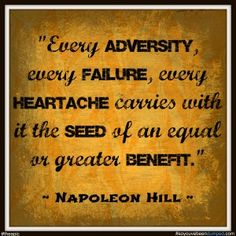 Napoleon Hill Quote - about overcoming obstacles and finding the benefits in everything. See full blog about encouraging words http://www.soyouvebeendumped.com/blog/encouring-words/ - #theapic