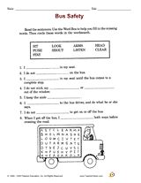 Bus Safety (School Safety Printable, 2nd Grade) - TeacherVision.com